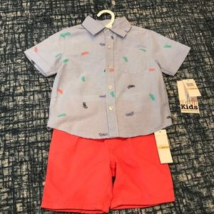 Toddler boy motorcycle print outfit